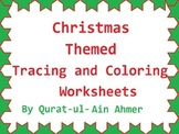 Christmas Themed Tracing and Coloring Worksheet