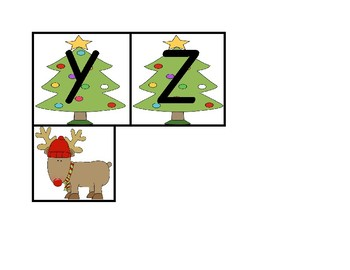 """Christmas Themed Uppercase Letter Recognition Game """"Where is the Reindeer?"""""""