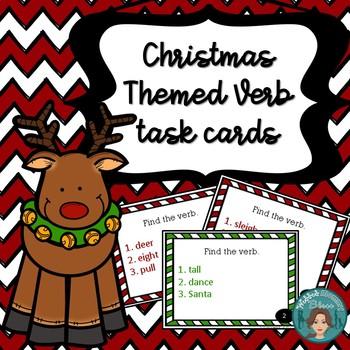 Christmas Themed Verb Task Card Activity