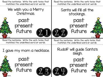 Christmas Themed Verb Tense Roam the Room Activity