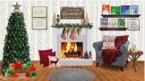 Christmas Themed Virtual Classroom Library-Fire is LIVE!-Editable