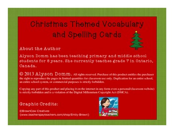 Christmas Themed Vocabulary and Spelling Cards