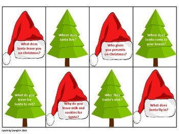 Christmas Themed 'Wh' Question Cards