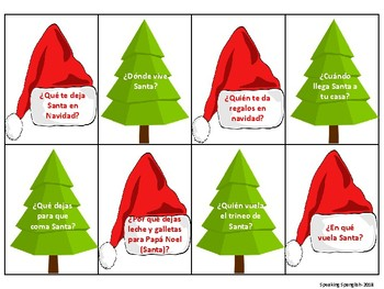 Christmas Themed 'Wh' Question Cards- SPANISH