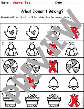 Christmas Themed Which One Doesn't Belong? PRINT AND GO Worksheets