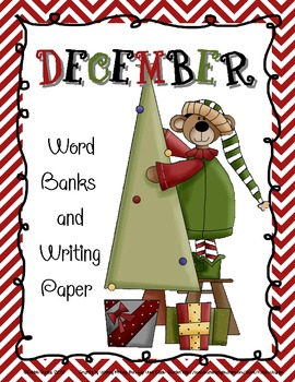 Christmas-Themed Word Banks and Writing Paper for December