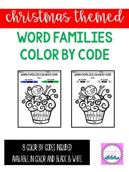 Christmas Themed Word Family Color by Code