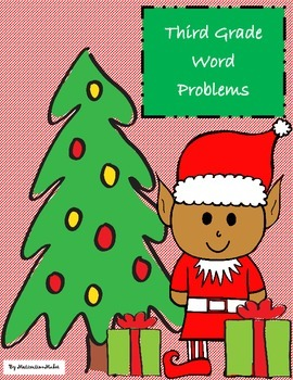 Christmas Themed Word Problem Task Cards for Third Grade S