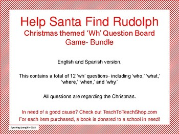 Christmas Themed 'wh' Questions Board Game- BUNDLE