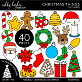 Christmas Things Outlined Clipart [Ashley Hughes Design]