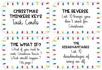 Christmas Thinkers Key Task Cards and Choice Board