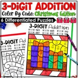 Christmas Three Digit Addition Color by Number with and without regrouping