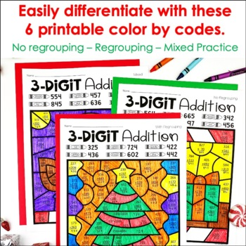 Christmas Color by Number Addition   Christmas 3 Digit ...