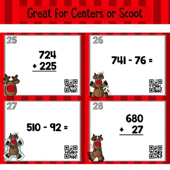 Christmas Three Digit Addition and Subtraction with Regrouping Task Cards