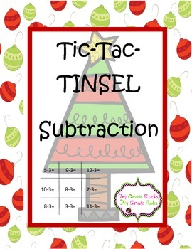 Christmas Tic Tac Tinsel Subtraction Game Freebie