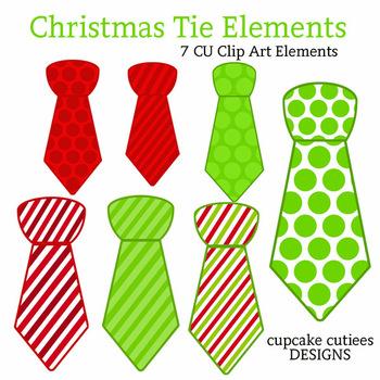 Christmas Ties- Tie Shaped Patterns Digital Clip Art Elements