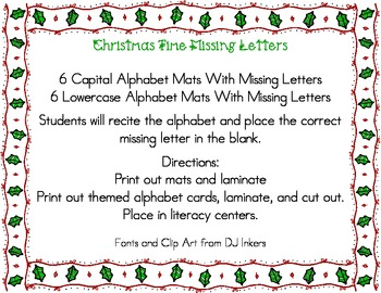 Christmas Time Missing Letters Alphabet Mats