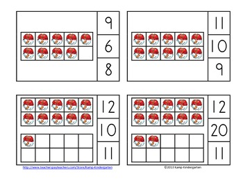 Christmas Time Ten Frames Math Centers (Quantities of 0 to 20)
