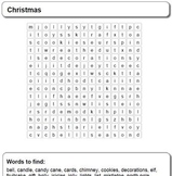 Christmas Time is Here!  Word Search for Pre-K +