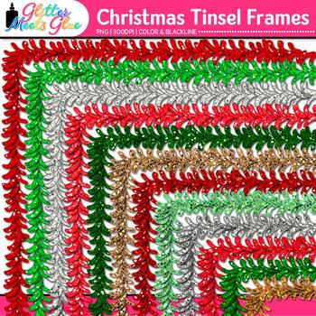 Christmas Tinsel Border Clip Art {Holiday Frames for Worksheets & Scrapbooking}