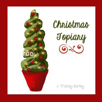 Christmas Topiary Art, christmas card art Printable Tracey