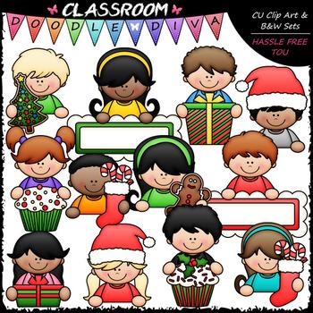 Christmas Topper Kids Clip Art - Christmas Toppers Clip Art & B&W Set