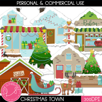 Christmas Town Clip Art Set