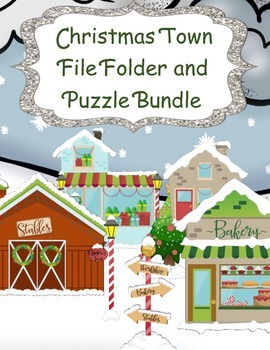 Christmas Town File Folder and Puzzle Bundle