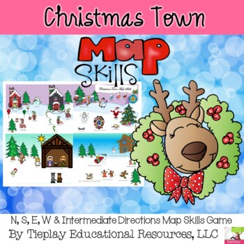 Christmas Town Map Skills Activity north south east west intermediate No Prep