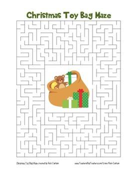 """Christmas Toy Bag"" Maze! Holiday FUN! (Color and Black Line)"