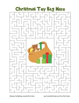 """Christmas Toy Bag"" Maze! Holiday FUN! (Color and Black Line)"