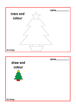 Christmas Trace Draw & Colour, Fine Motor Skills Autism Special Ed, UK SPELLING