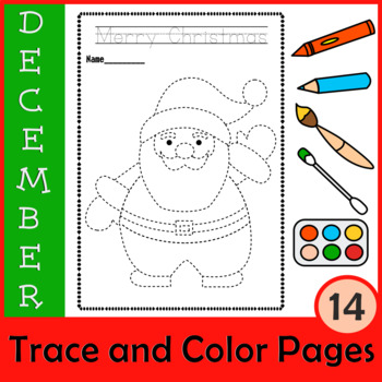 Christmas Trace and Color Pages {Fine Motor Skills + Pre-writing}