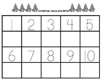 Christmas Trace and Write Numbers 1-20 Precious Preschoolers Holiday