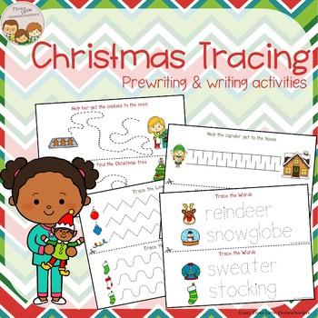 Christmas Tracing - Prewriting & Writing Center Activities