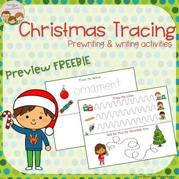 Christmas Tracing - Prewriting & Writing Center - FREEBIE Preview