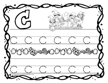 Christmas Tracing and Writing Sheets Lower case Letters
