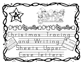 Christmas Tracing and Writing Sheets  Upper case Letters