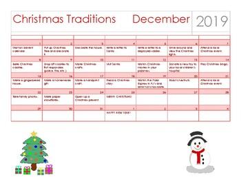 Christmas Traditions Calendar 2019