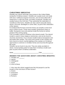 Christmas Traditions Reading and Comprehension