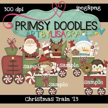 Christmas Train 300 dpi Clipart