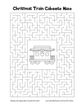"""Christmas Train Caboose"" Maze! Holiday FUN! (Color and Black Line)"