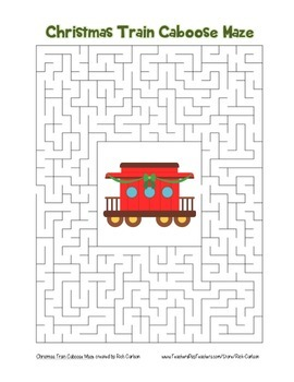 """Christmas Train Caboose"" Maze! Holiday FUN! (Color and Bl"