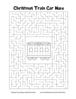 """Christmas Train Car"" Maze! Holiday FUN! (Color and Black Line)"