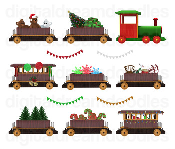 Christmas Train Clip Art - Polar Express Digital Graphics