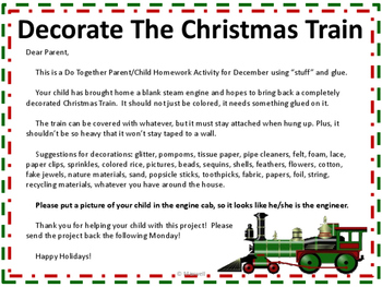 Santa Express Christmas Train Do Together Parent/Child Homework Activity
