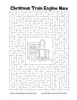 """Christmas Train Engine"" Maze! Holiday FUN! (Color and Black Line)"
