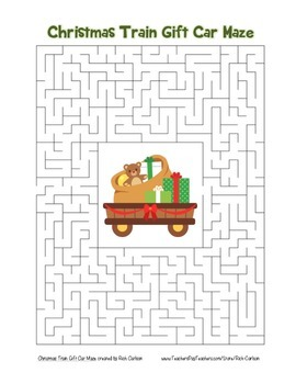 """Christmas Train Gift Car"" Maze! Holiday FUN! (Color and Black Line)"