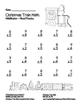 """Christmas Train Math"" Mixed Multiplication Common Core Fun! (blackline & color)"