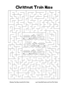 """Christmas Train"" Maze! Holiday FUN! (Color and Black Line)"